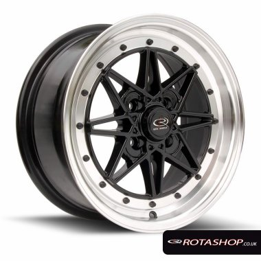 "Rota Flashback 15"" 7"" 4x100mm ET40 Black Polished Lip Single Rim"