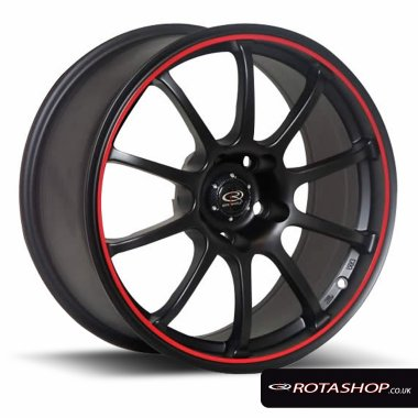 "Rota Force 17"" 8"" 5x114mm ET35 Flat Black Red Lip Single Rim"