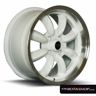 "Rota RB 15"" 8"" 4x100mm ET30 White Polished Lip Single Rim"