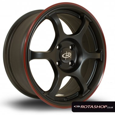 "Rota Boost 16"" 7"" 4x100mm ET45 Flat Black with Red Lip Single Ri"