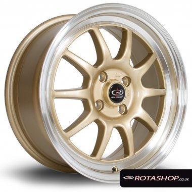 "Rota GT3 16"" 7"" 4x100mm ET40 Gold Polished Lip Single Rim"